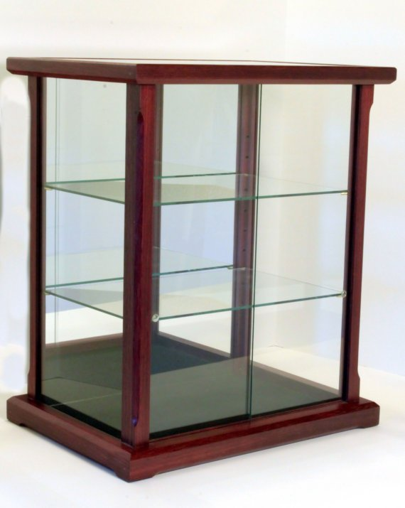 Display case for collectibles exotic wood