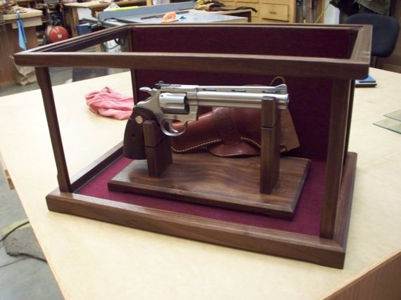 pistol display case custom solid wood
