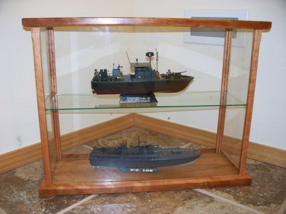 Model display case solid wood and glass