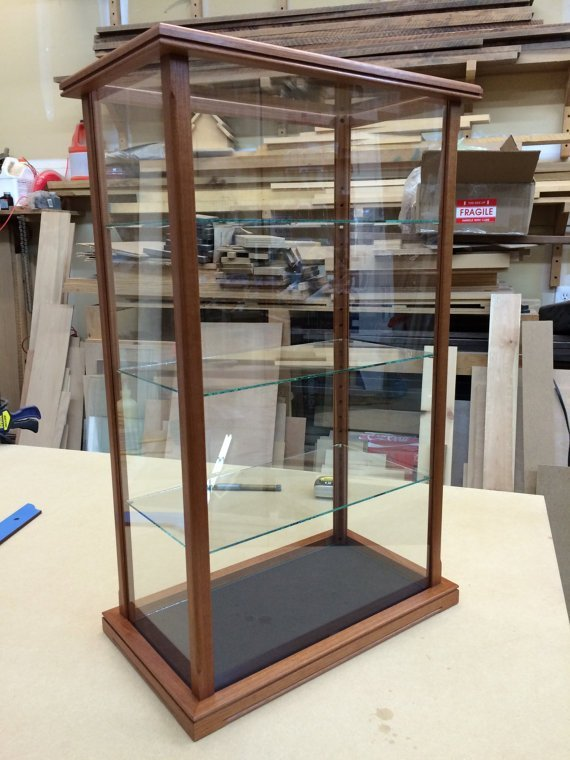 wooden display case with solid wood and glass