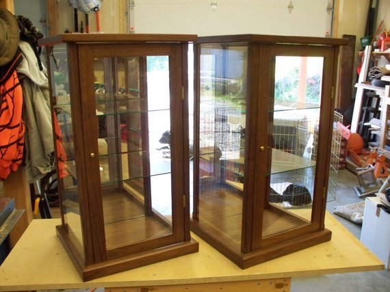 Wood and Glass Display Cases ( Matching Set of Two) For Collectibles – Walnut – Oak, Mahogany, Maple, Cherry or Pine options available