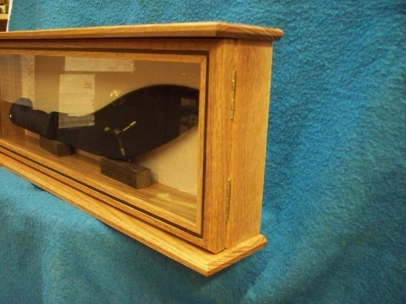 pistol display case solid wood real glass