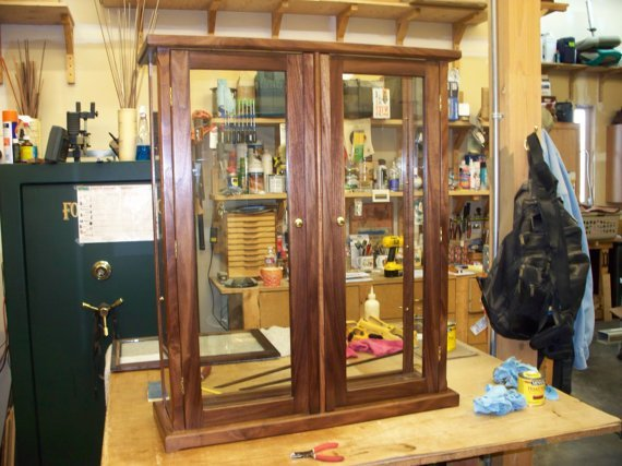 Wood and Glass Display Case with Double Doors – Walnut – Oak, Mahogany, Maple, Cherry or Pine options available