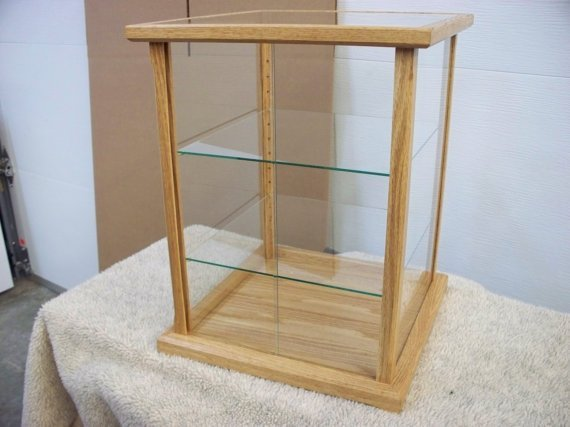 Display case for collectibles solid wood and glass