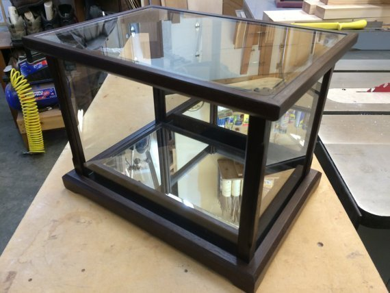Exotic Wood / Glass – Display Case for Collectables —  Mirrored Bottom Base