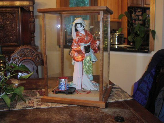 Doll Display Case Wood & Glass