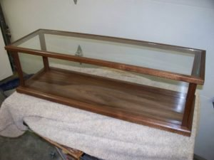 Wood and Glass Display Case for Model Ships, Swords, Rifles – American Dark Walnut – Also available in Cherry, Mahogany, Oak, and Maple $309.00