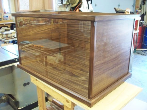 Wood and Glass Display Case for Model Ships, Swords, Rifles, Artwork/Statues – Dark Walnut – Available in Cherry, Mahogany, Oak, and Maple $496.00
