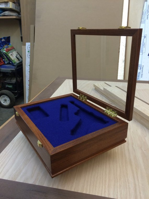 Pistol/Gun Display Case Wood and Glass -Brazilian Cherry – (Maple, Cherry, Walnut, Pine, Mahogany, & Exotic Options Available). $575.00