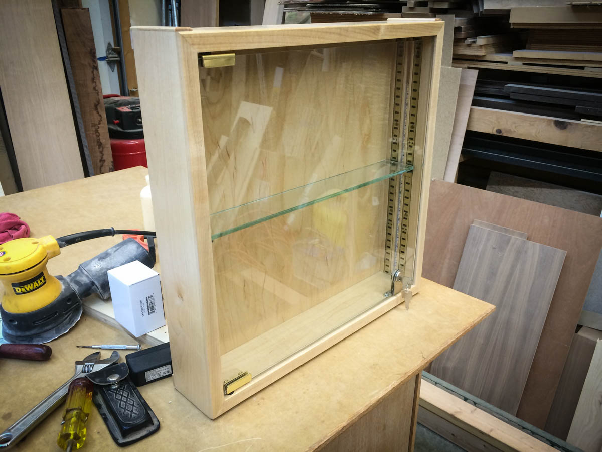 Handmade Commercial Glass Display Case With Shelf and Lights