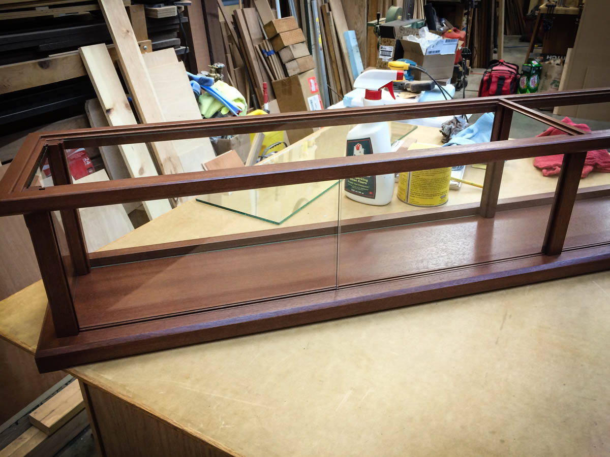 Handmade Commercial Display Case With LED Lighting Made From Solid Sapele Wood