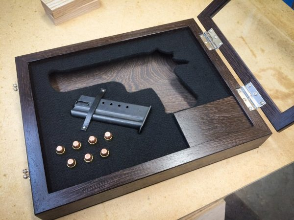 Handmade Exotic Wood Pistol / Gun Display Case