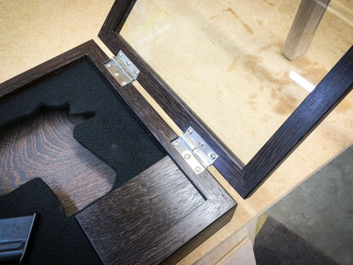 Handmade Exotic Wood Pistol / Gun Display Case