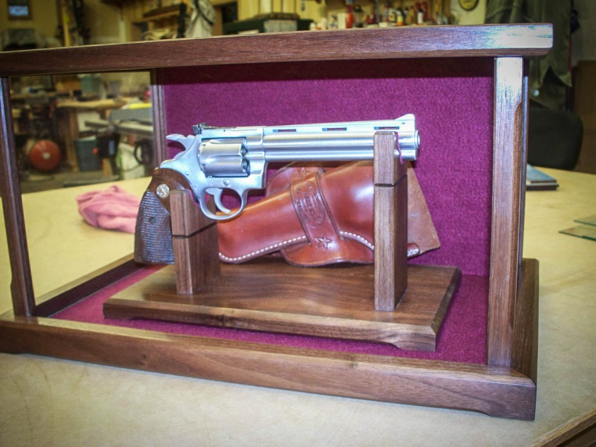 Handmade Wood & Glass Pistol / Gun Display Case
