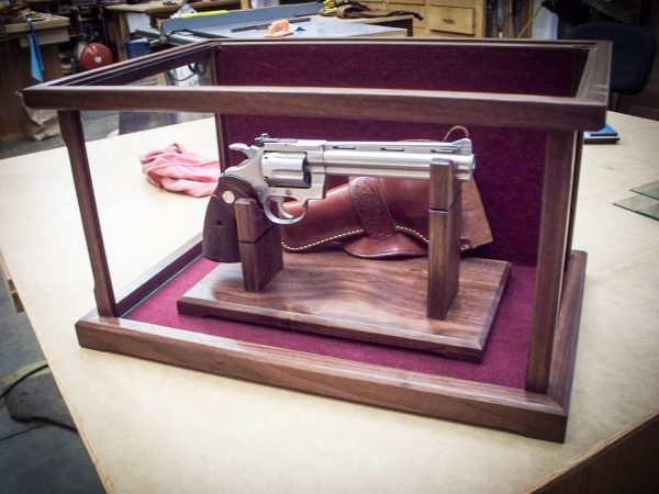Handmade Burled Tiger Wood & Glass Doll Display Case