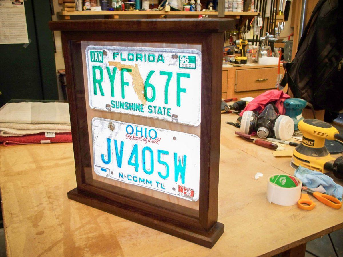 Handmade Deluxe Dark License Plate Display Case