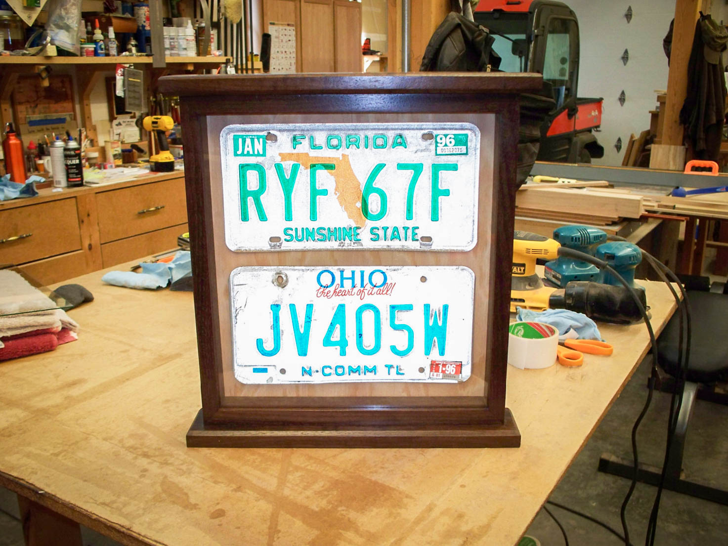 Handmade Deluxe Dark License Plate Display Case