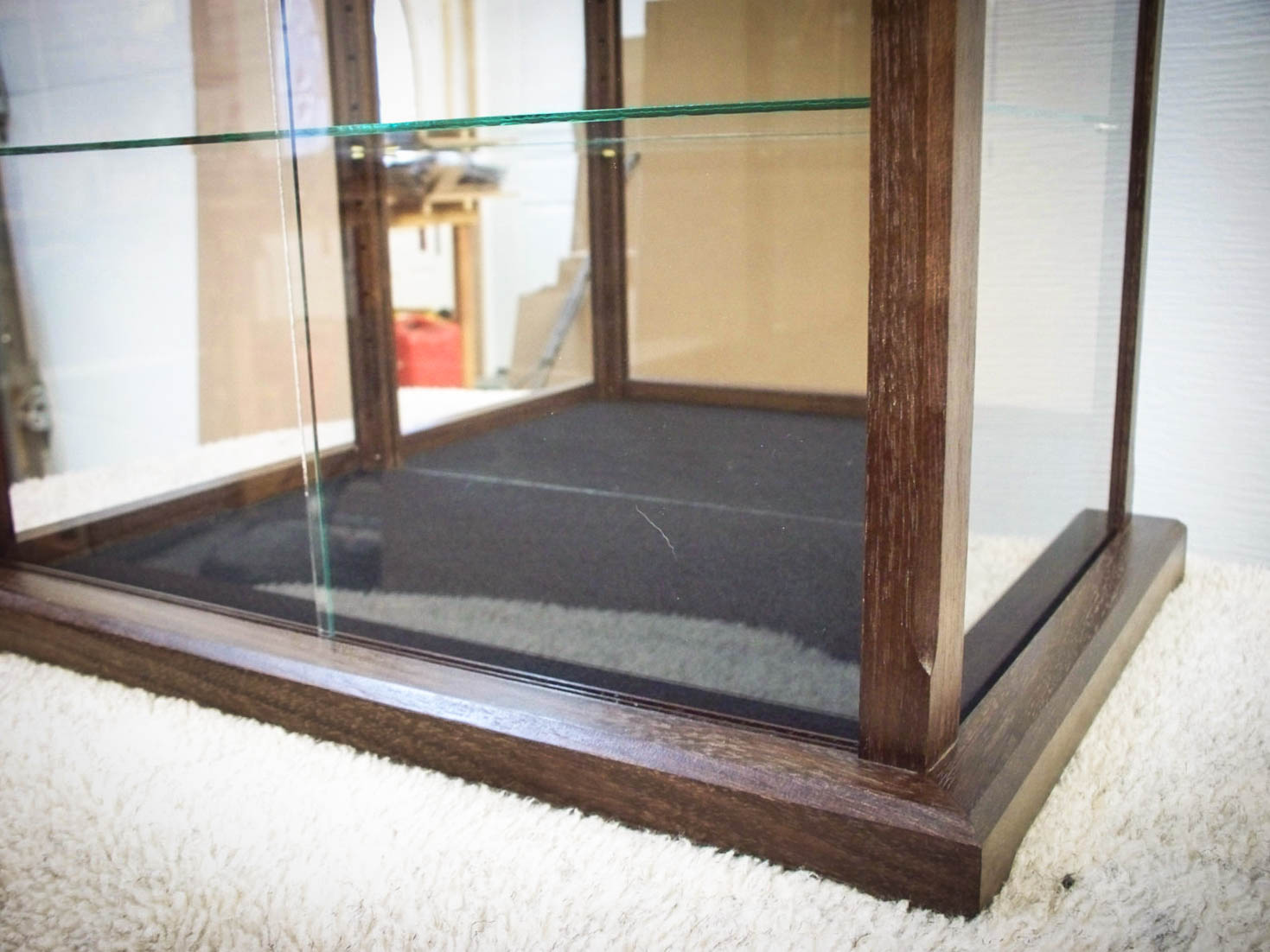 Handmade Felt Bottom Display Case Made From Exotic Wenge Wood