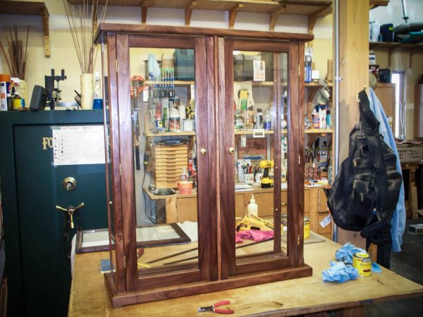 Handmade Walnut Display Case With Wood Framed Glass Doors