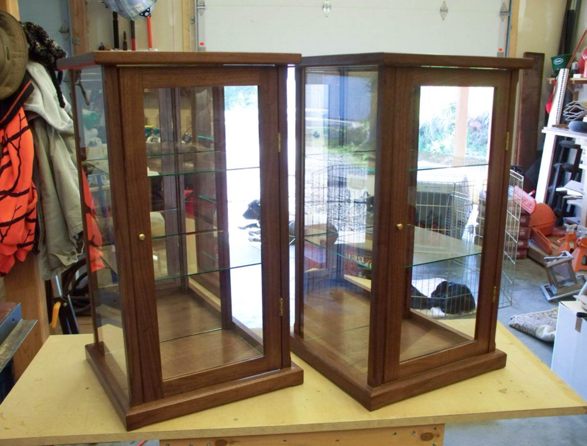 Handmade Walnut Display Case With Adjustable Shelves