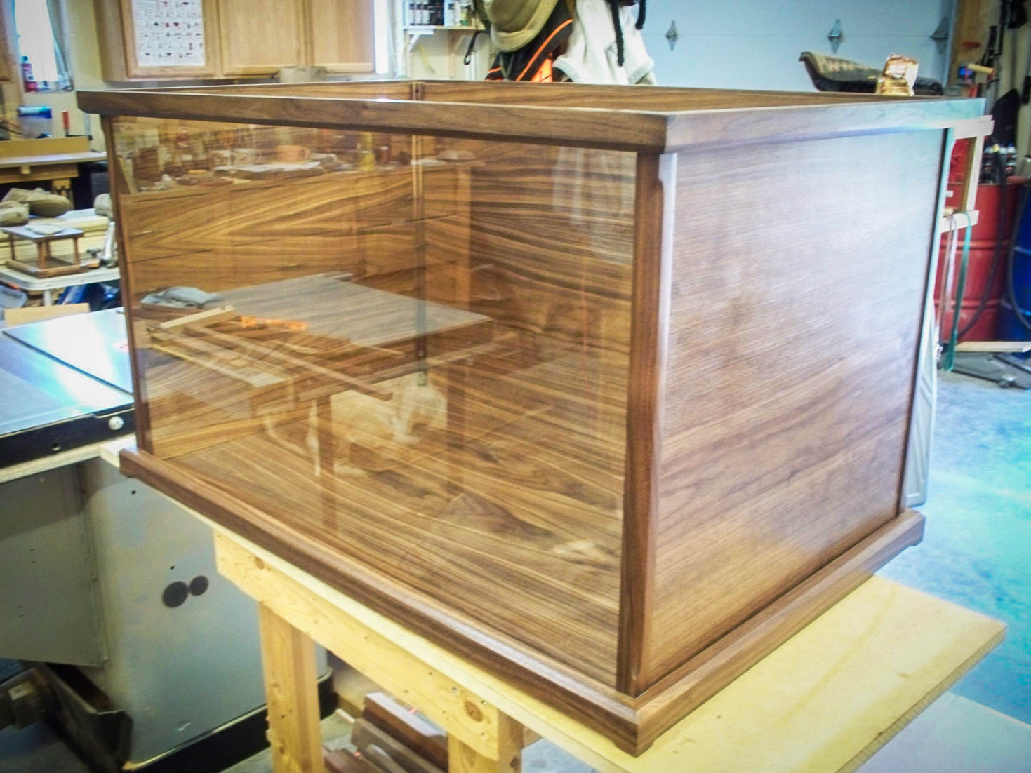 Handmade Walnut Display Case With Tempered Glass