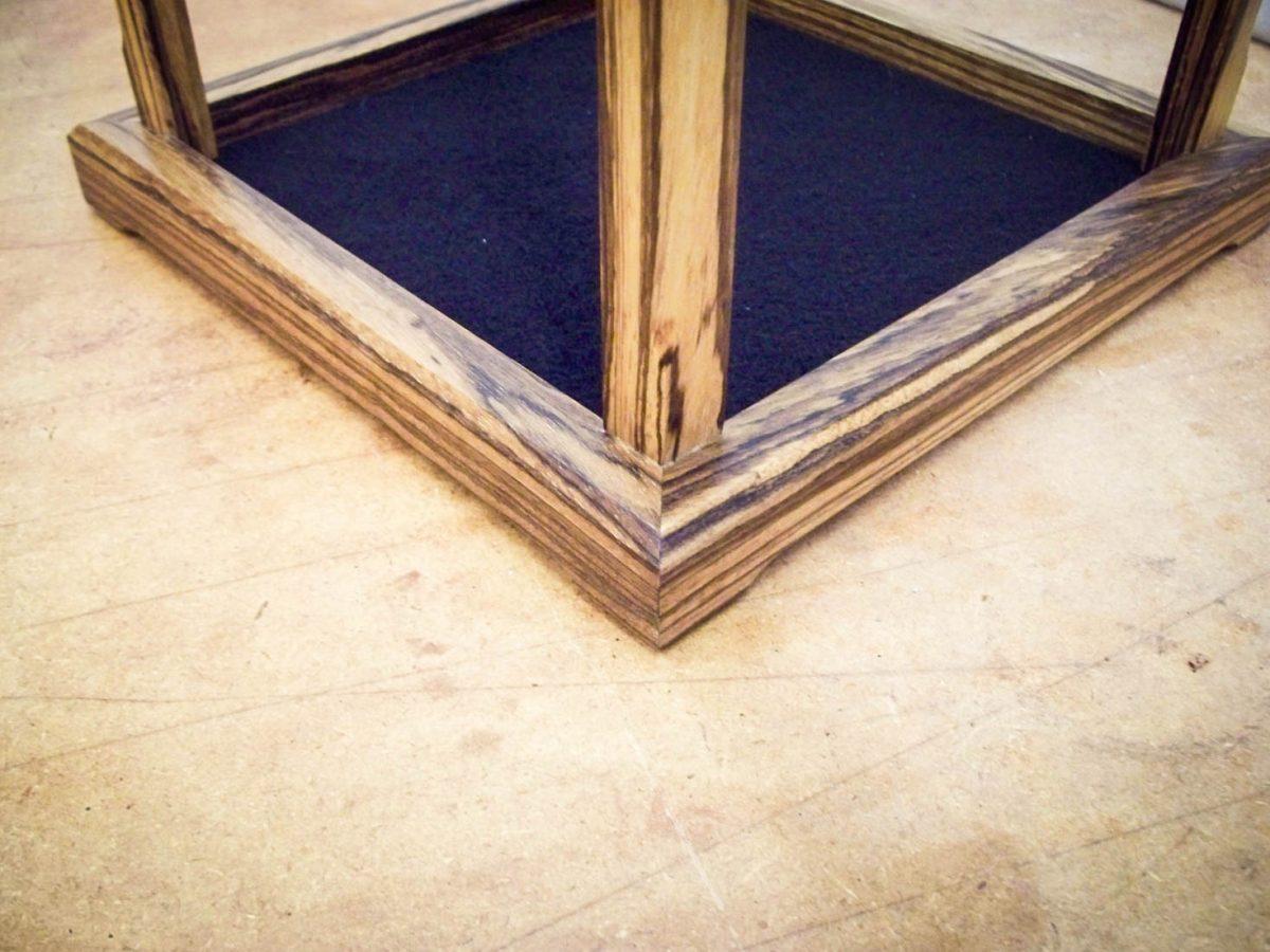 Handmade Glass Display Case Made With Zebra Wood