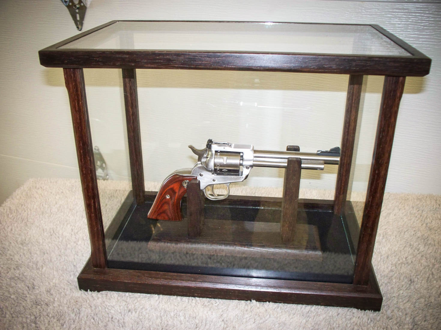Handmade Gun / Pistol Glassed Display Case Made From Solid Peruvian Walnut