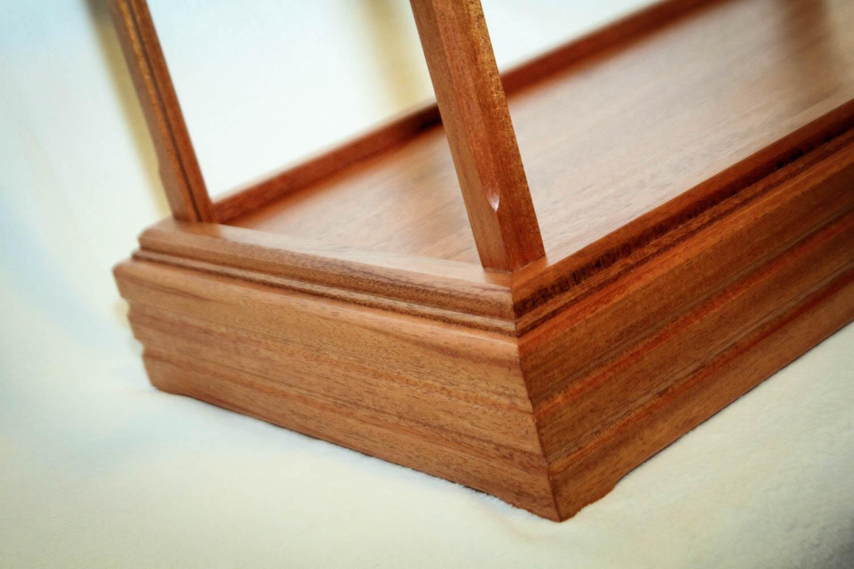 Handmade Mahogany Wood And Glass Display Case With Premium Raised Case Base