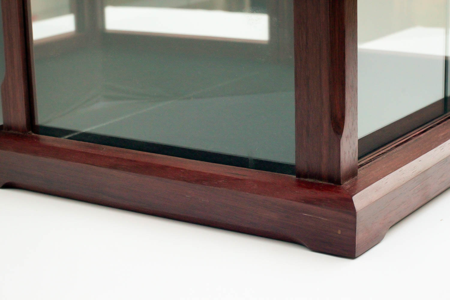 Handmade Display Case Made From Peruvian Walnut For Dolls, Models, Crystal Figurines