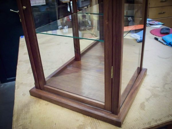 Handmade Wood & Glass Collectibles Display Case Made Of Walnut
