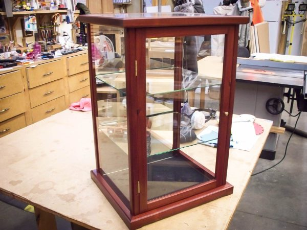 Handmade Display Case Made From Exotic Blood Wood And Framed Glass