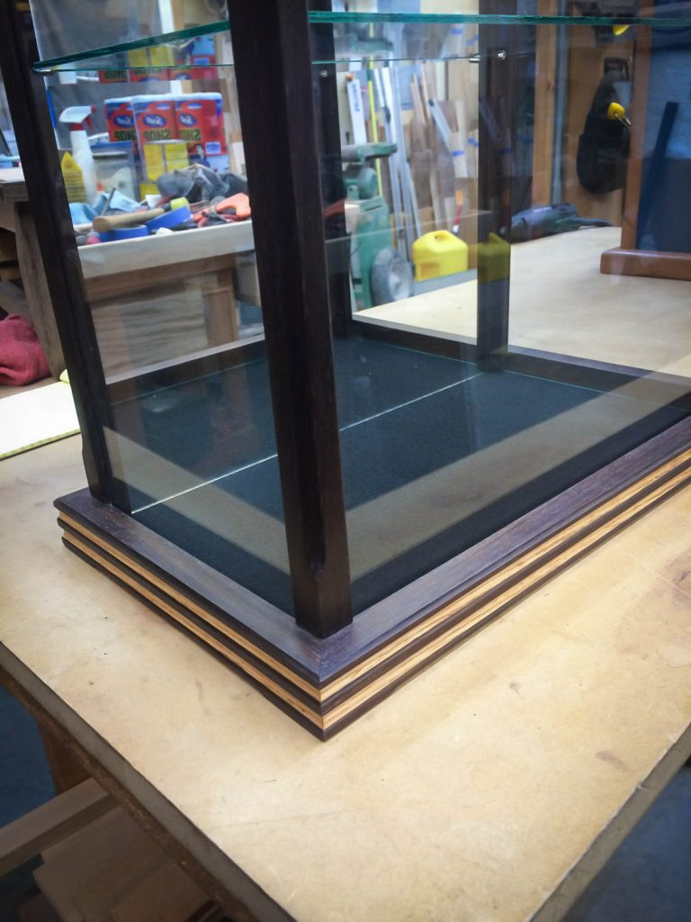 Handmade Walnut Display Case With Oak Inlays And Mirrored Back