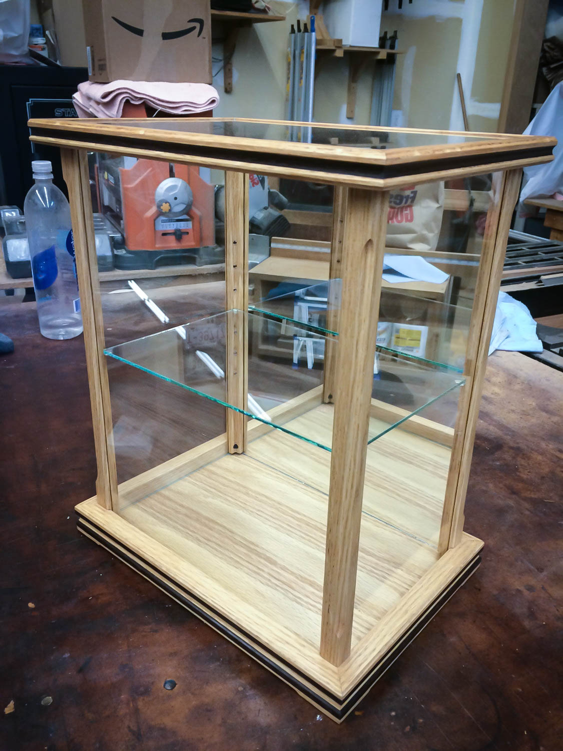 Handmade Glass Display Case Made With Red Oak And Peruvian Walnut