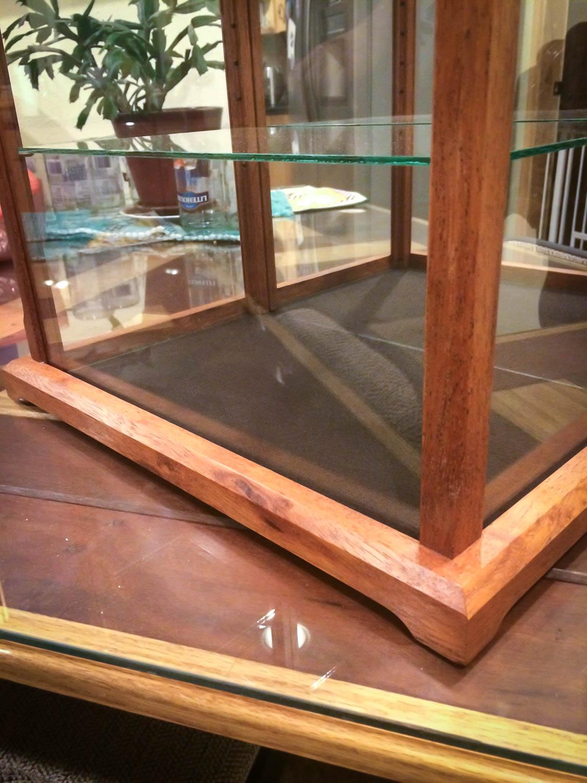 Handmade Glass Display Case Made With Exotic Merbau Wood