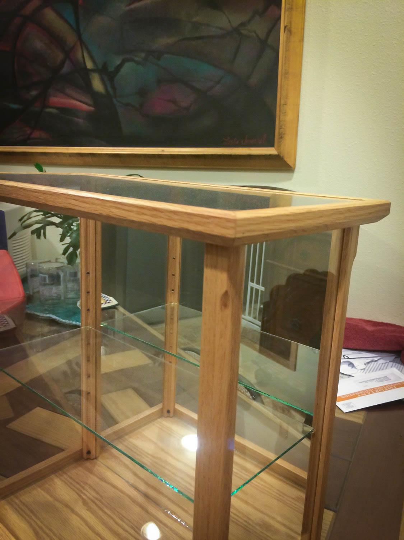 Handmade Oak and Glass Display Case With Shelf