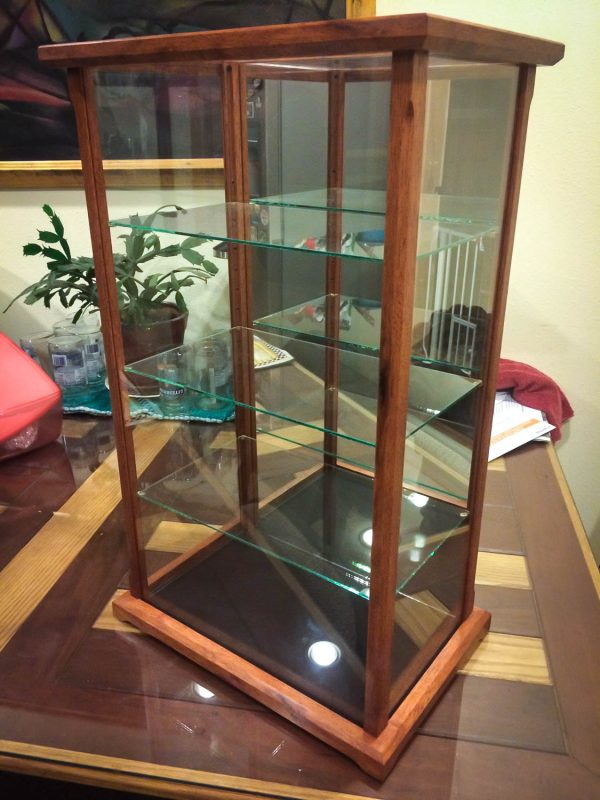 Handmade Glass Display Case Made With Exotic Merbau Wood