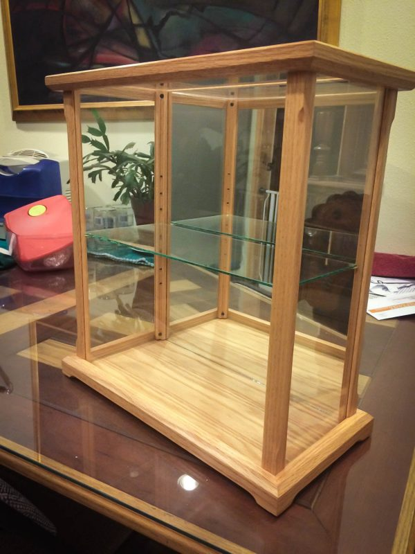 Handmade Glass Display Case Made Oak With Shelf