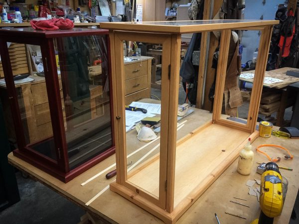 Handmade Knotty Pine Display Case With Duel End Doors