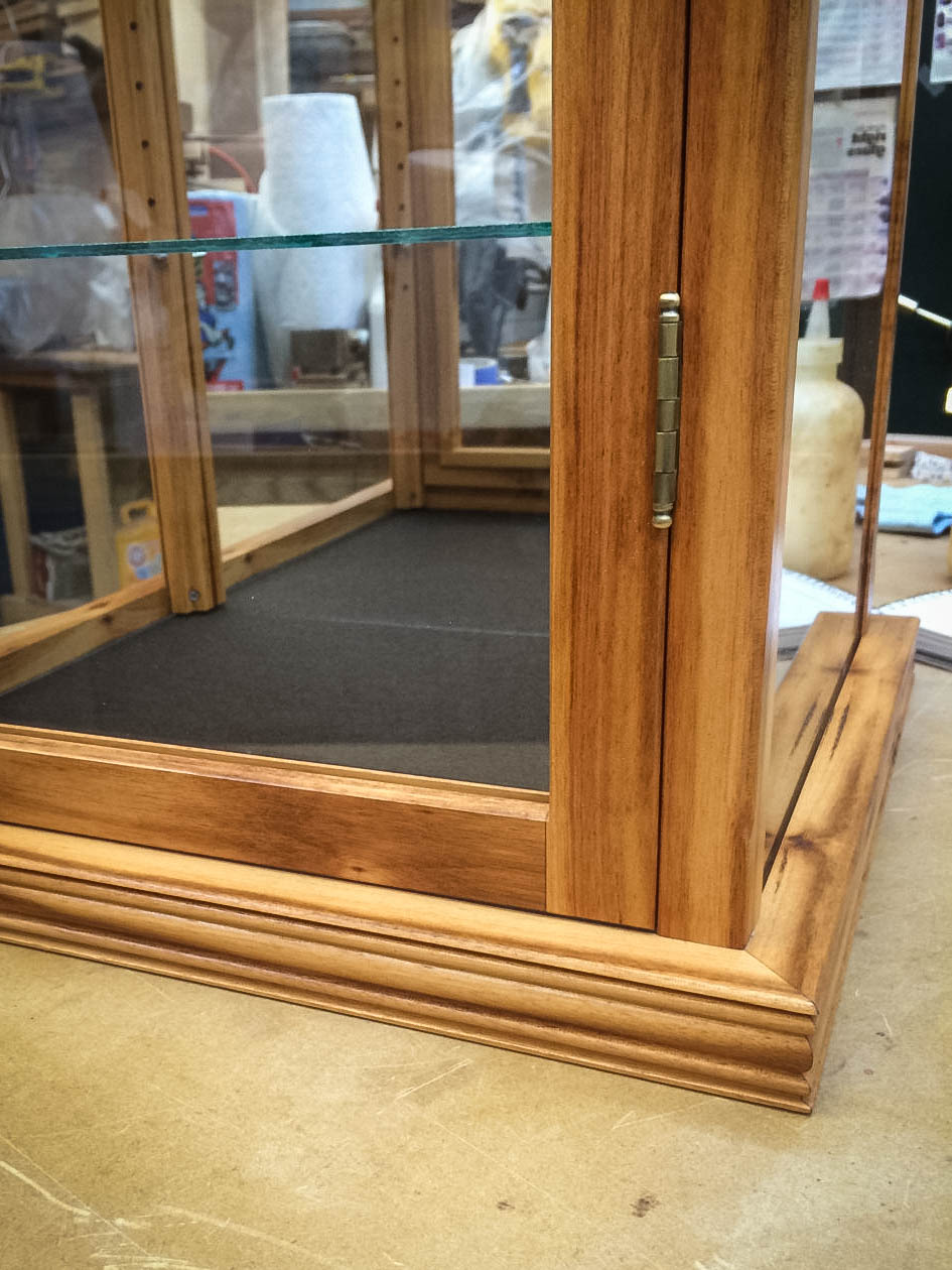 Handmade Glass Display Case Made With Exotic Tiger Wood