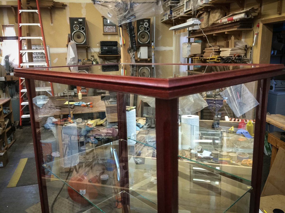 Handmade Display Case For Collectibles With Exotic Blood Wood