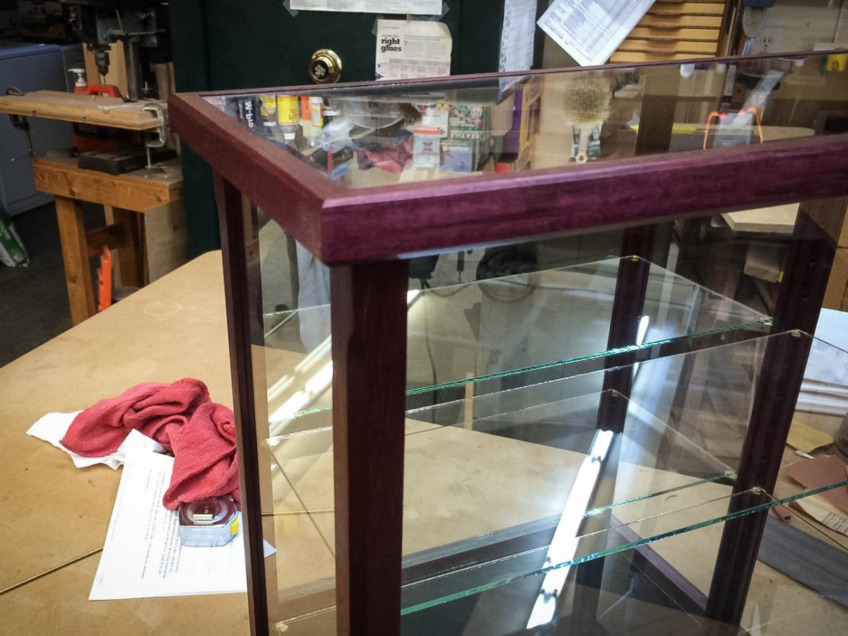 Handmade Purple Heart Wood and Glass Display Case