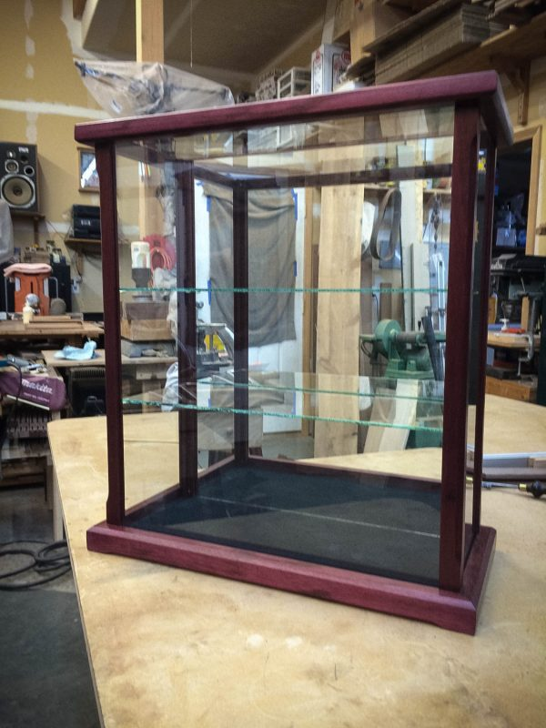 Handmade Purple Heart Wood and Glass Display Case