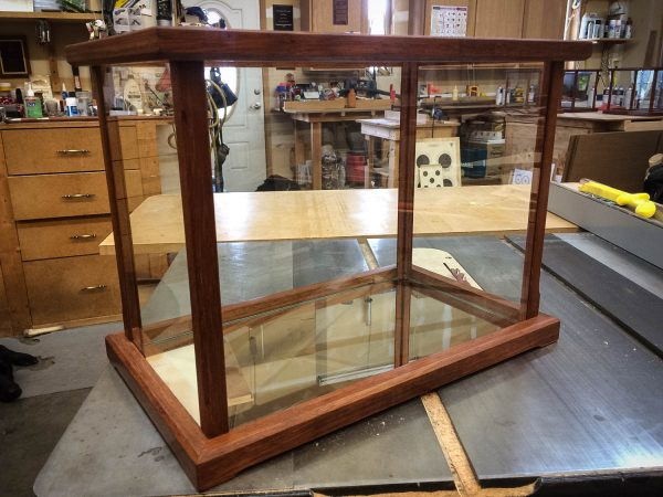 Handmade Mirrored Bottom Display Case For Collectibles Made From Merbau Wood