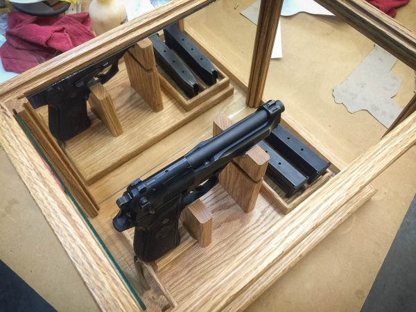 Handmade Pistol / Gun Display Case With Magazine Holder