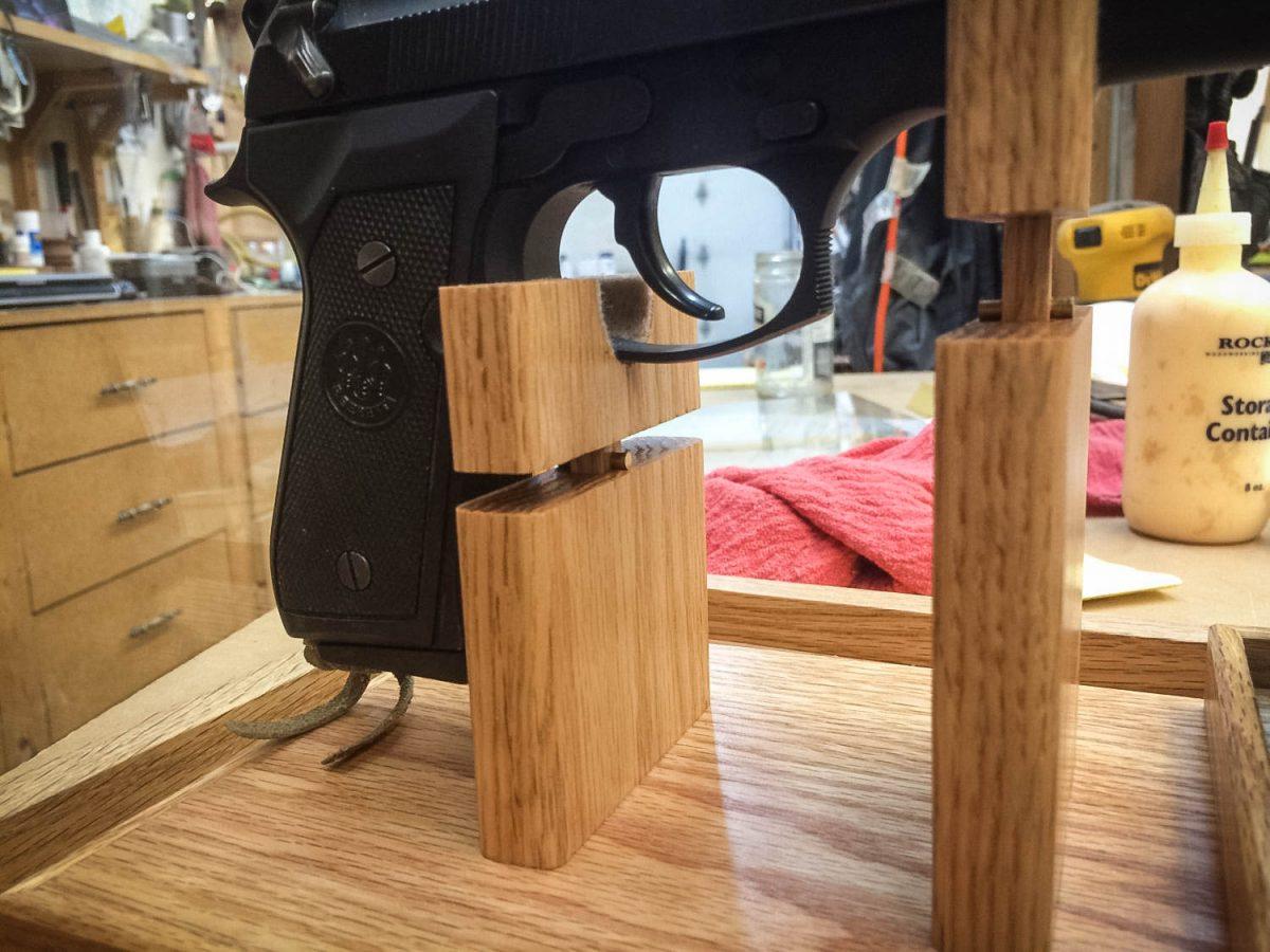 Handmade Pistol / Gun Display Case With Magazine Holder
