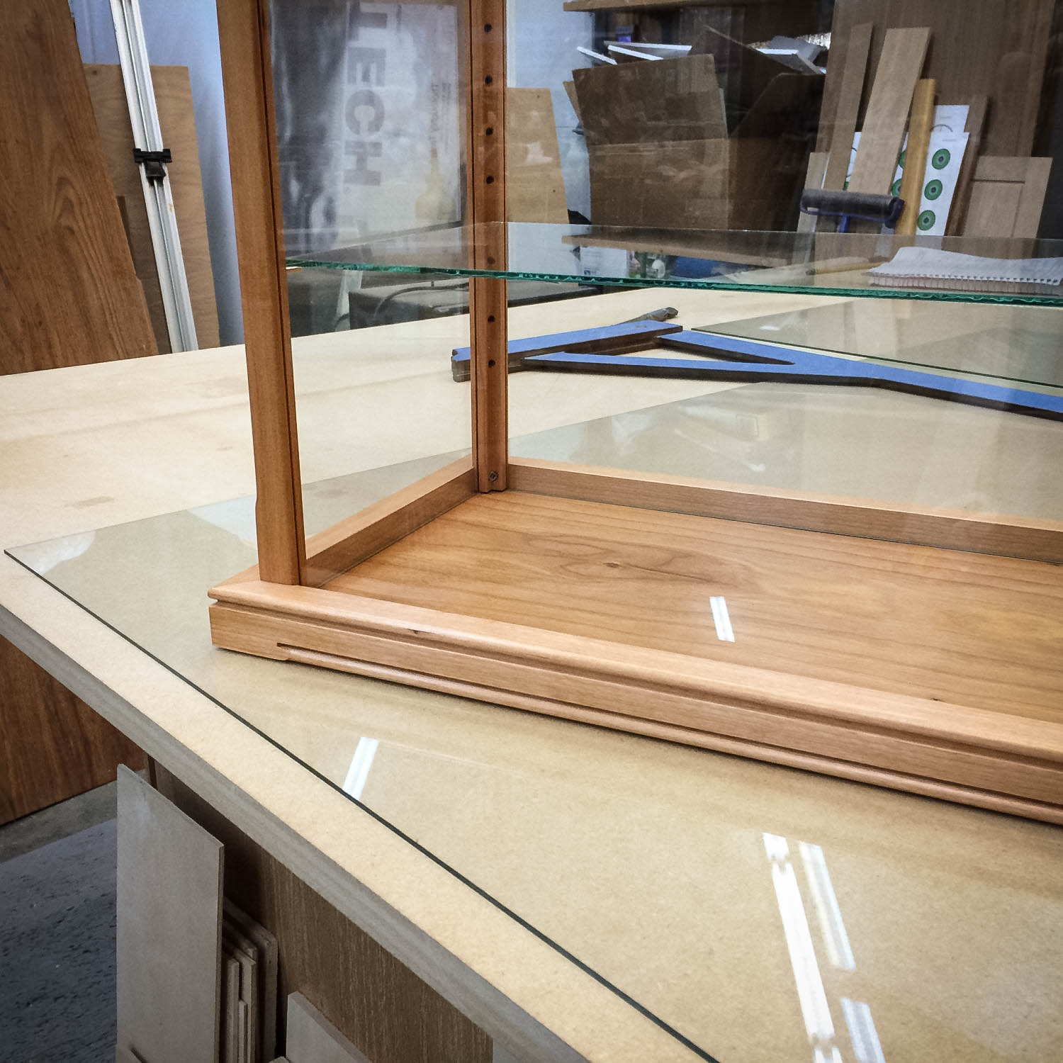 Handmade Cherry Wood & Glass Display Case