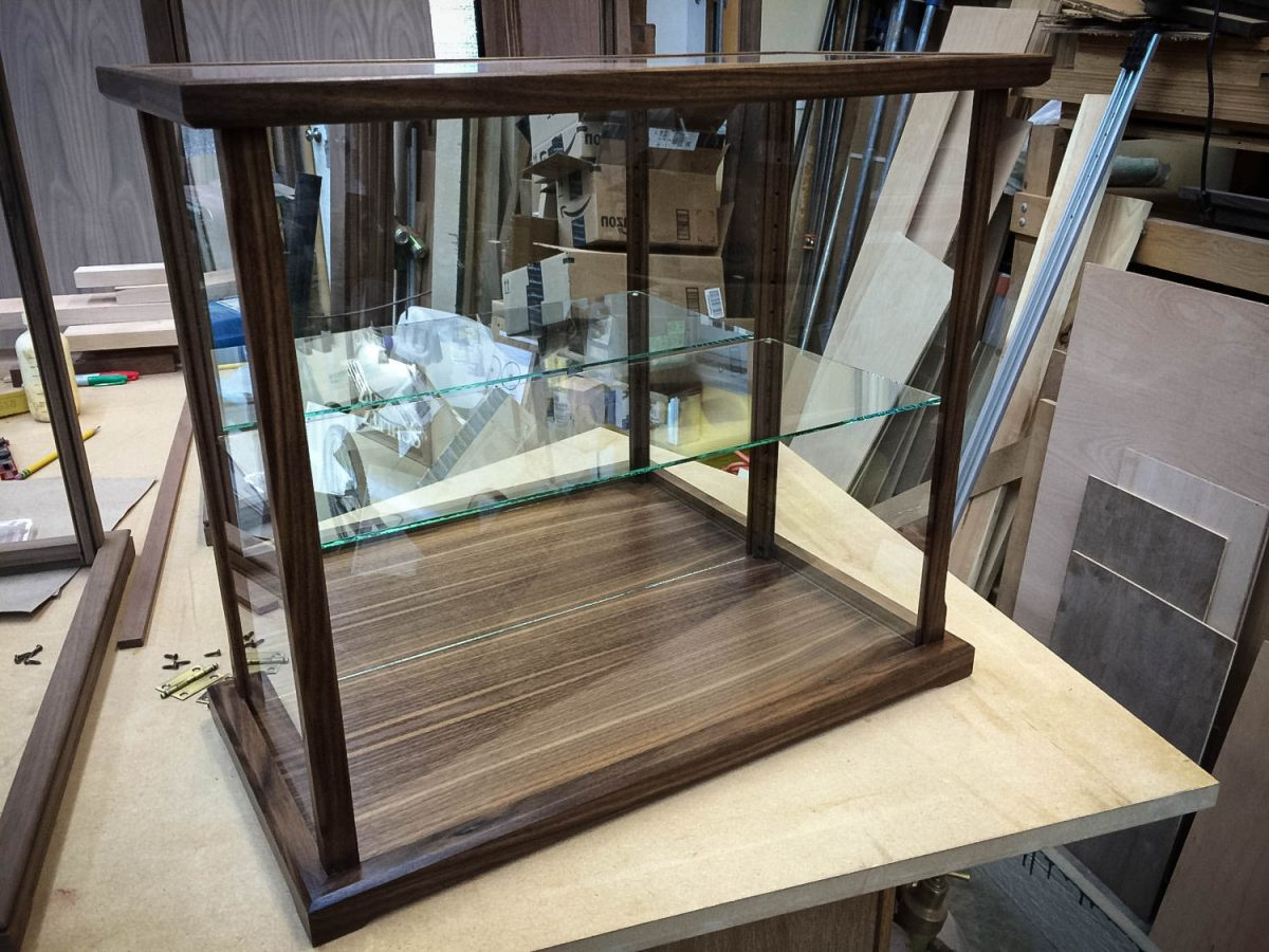 Handmade American Walnut Display Case For Collectibles