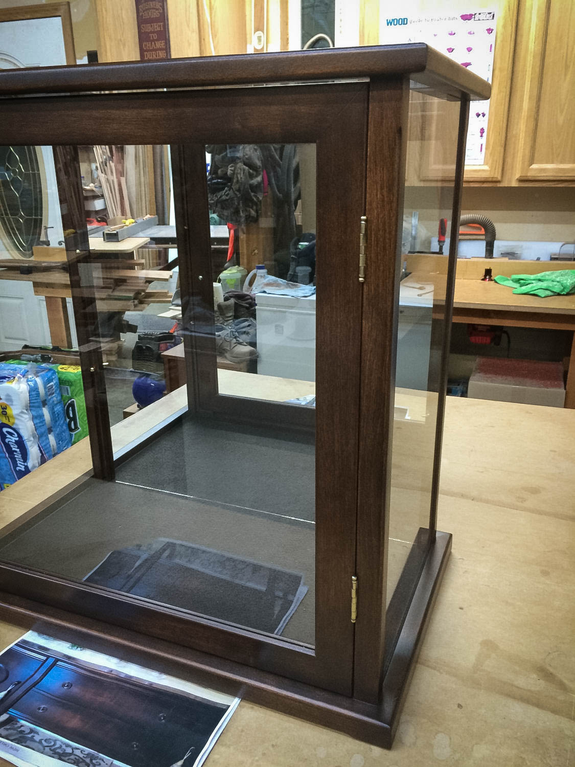 Handmade Antique Stained Alder Display Case