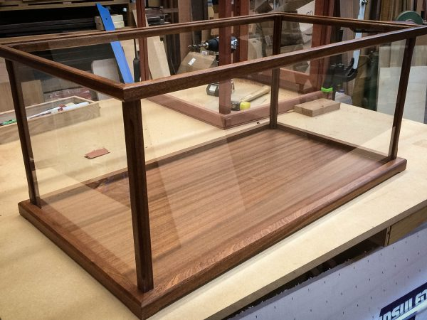 Handmade One Mahogany Display Case for Models, Crystal, Figurines