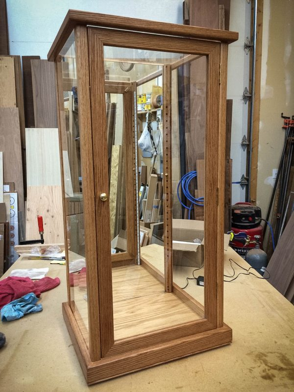 Handmade Red Oak Display Case With LED Lighting